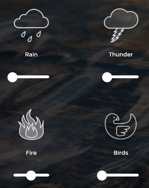 A Soft Murmur is an excellent source for soft background noise--rain, a campfire, singing bowls, etc.--perfect for working at the computer. Noisli is another good one, with interesting options like blowing leaves.