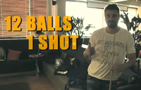 #67 (Video) On a pool or billiards table, sink at least 4 balls with one shot. So we know it's you doing it, wear a t-shirt displaying your GISHWHES team name. The more balls that go in, the more points.