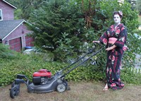 #106 Let's see a fully dressed, face-painted geisha mowing the lawn.