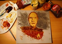 #109 Obviously, everyone's favorite Captain of the USS Enterprise was Jean-Luc Picard. Create a heroic Captain Picard using condiments (mustard, relish, ketchup, etc.) for paint.