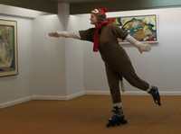 #175 Rollerblade through a museum - Steve Martin style - but wearing a sock monkey hat.