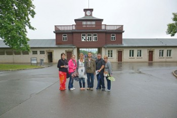 At the entrance to Buchenwald. What a way to spend the first day after your wedding!